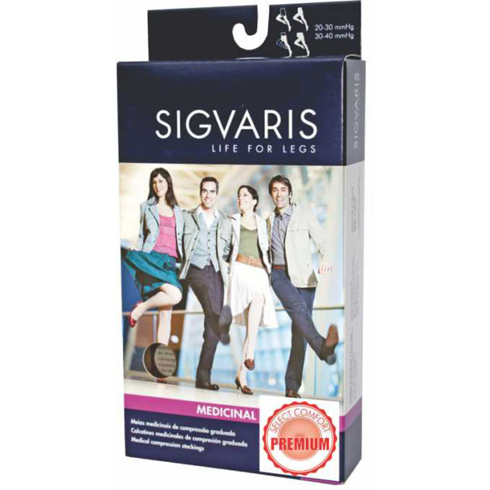 Meia 3 / 4 Panturrilha 862 Premium 20 - 30 Mmhg Ponteira Aberta Sigvaris XG Normal Natural