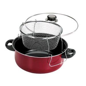 Frigideira-Vermelha-Carbon-Steel-com-Cesto-e-Tampa-de-Vidro-KH-169