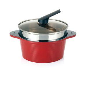 Conjunto-Panela-De-Ceramica-Com-Tampa-Alumite-Ceramic-Pot-Happycall-24-CM-E-Cozivapor-Em-Aco-Inox