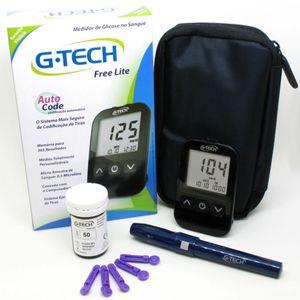 Kit-Medidor-de-Glicose-G-TECH-Lite-com-10-Tiras-lanceta-lancetador