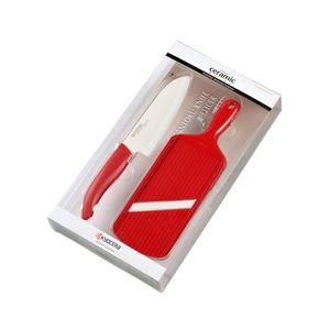 Kit-De-Faca-De-Ceramica-Santoku-5.5-Mais-Mandolin-Fatiador-De-Ceramica-Vermelho-FK-140WH202RDS-Kyocera