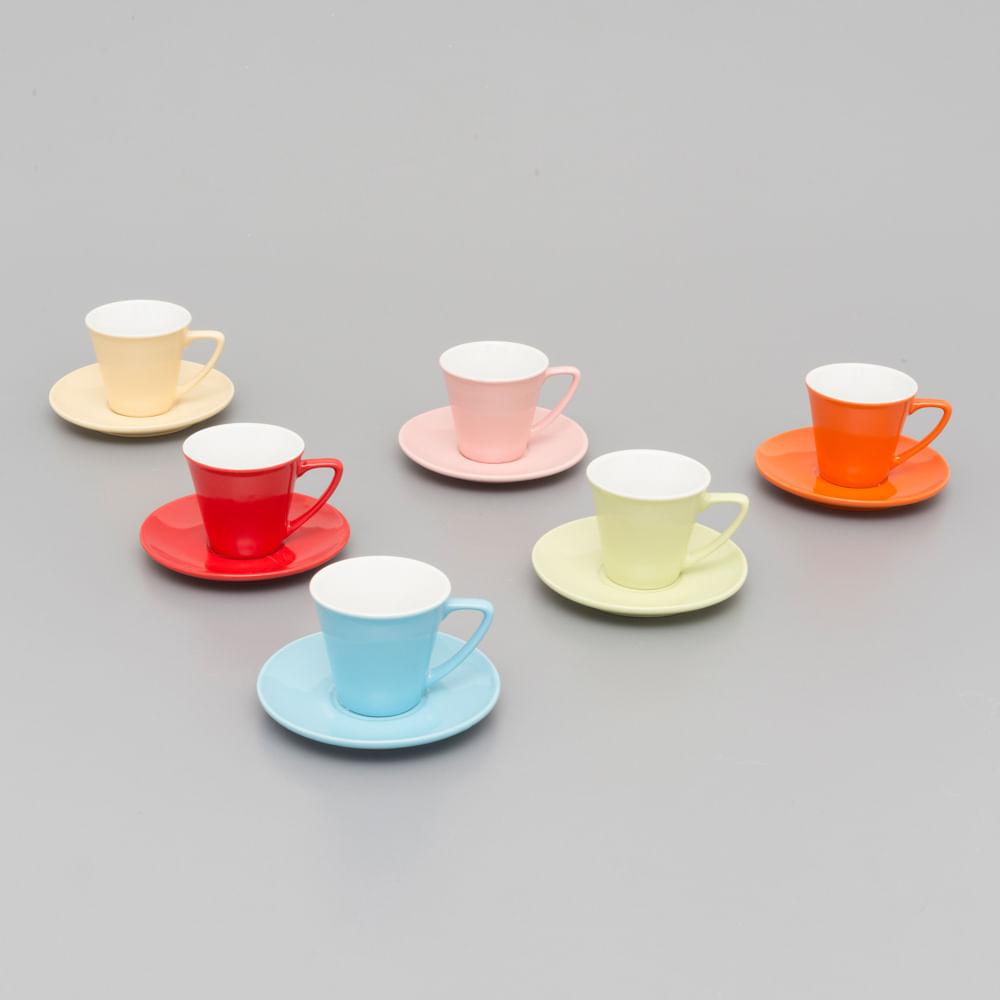c54f9813ca Jogo De 6 Xícaras De Café com Pires Em Porcelana 90 ML Colorida Modern  30388 - Boacoisa