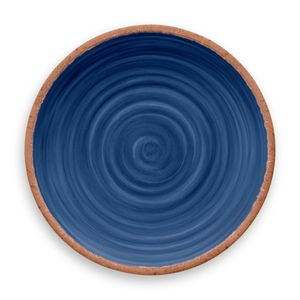 Prato-De-Jantar-Rustico-Redondo-em-Melamina-27-cm-Azul