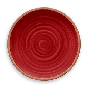 Prato-De-Jantar-Rustico-Redondo-em-Melamina-27-cm-Vermelho