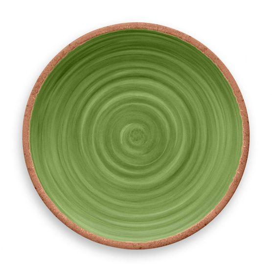 Prato-De-Jantar-Rustico-Redondo-em-Melamina-27-cm-Verde