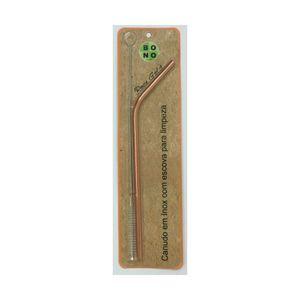 Canudo-Curvo-Ecologico-e-Reutilizavel-Em-Inox-com-Escova-20-cm-Rose-Gold