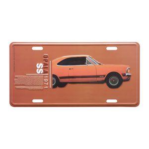 Placa-De-Carro-Em-Aluminio-GM-Opala-1971-Laranja-Fundo-Laranja