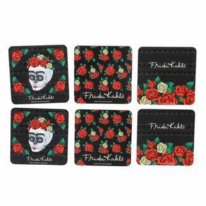 Kit-Porta-Copo-Com-6-Peas-Em-Cortia-Frida-Kahlo-Skull-Flowers-Colorido-10-x-10-Cm_A
