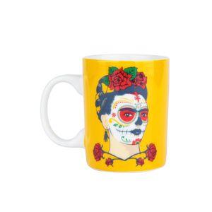 Mini-Caneca-Ceramica-Frida-Kahlo-Face-Fendo-Amarelo-140-Ml_A