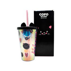 Copo-Canudo-Com-Textura-E-Orelha-De-Gato-Meow-500-Ml