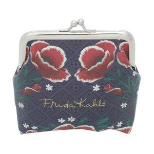 Porta-Moeda-Frida-kahlo-Red-Flowers-Fundo-Azul_A