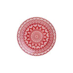 Prato-Para-Sobremesa-De-Ceramica-Mandala-Vermelho-E-Branco-19-Cm