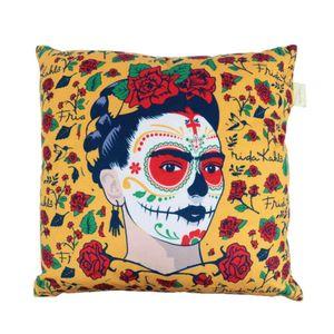 Capa-Para-Almofada-Poliester-Frida-Kahlo-And-Flowers-Amarelo-45-x-45-Cm